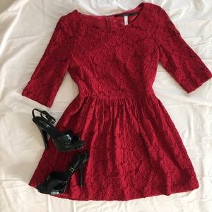 Kensie brand red lace dress
